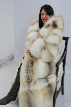 hooded golden island fox fur coat