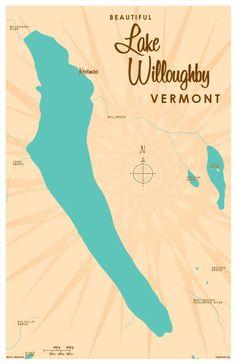 Lake Willoughby, VT Map Art Print Clear Lake Iowa, Cedar Creek Lake, June Lake, Island Map, Sign Maker, Retro Color, Map Art, Metal Signs, Vintage Signs