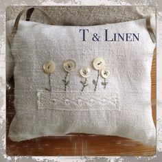 TLinen, Lavender bag, mother of pearl buttons and old lace, perfect flowers
