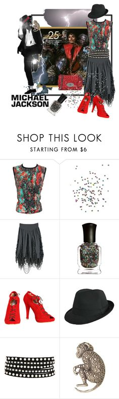 """King of Pop: Always a Thriller (tag)"" by aclaire ❤ liked on Polyvore featuring Nexus, Mulberry, Marios Schwab, Cheap Monday, Deborah Lippmann, Betty Jackson, B-Low the Belt, Alkemie, fedora hats and glitter"