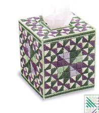 PATCHWORK PINWHEELS TISSUE BOX COVER PLASTIC CANVAS PATTERN INSTRUCTIONS