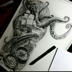 Book Drawing, Kraken, Tentacle, Sleeve Designs, Body Mods, Tattoo Studio, Japanese Art, Skull, Ink