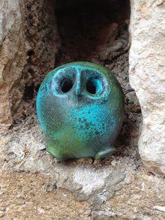 """Nicole (1937-2012) et Michel (né en 1935) ANASSE """"Chouette"""" (circa 1980 ?) H. 7 cm, Ø 6,5 cm Owl Scultpure"""