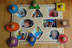 glue pictures to fit underneath wood puzzle pieces - cute gift idea