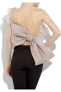 Valentino asymmetric antique rose silk-organza top