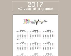 A5 2017 Printable Year At A Glance Calendar - Planner Insert For ...