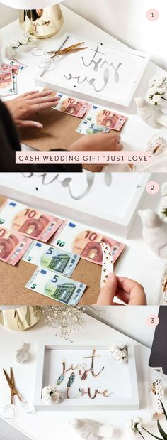 Wedding gift ideas Wrapping money gifts in an original way The wedding season is approaching and you still lack a brilliant idea for the perfect wedding gift? Wedding Gifts For Newlyweds, Newlywed Gifts, Unique Wedding Gifts, Diy Presents, Diy Gifts, Free Wedding, Perfect Wedding, Don D'argent, Wedding Season
