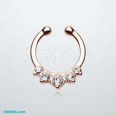 Rose Gold Multi-Gem Precia Fake Septum Clip-On Ring