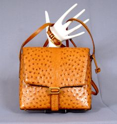 11592f551888 DELVAUX Bruxelles Vintage Exquisite And Rare Exotic Ostrich Leather  Shoulder Crossbody Bag