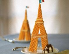 Eiffel Tower with wafer cookies!  :)  Love Love Love It!!!!!
