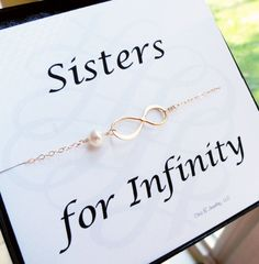 Sisters for infinity card with gold infinity bracelet, pearl bracelet, infinity symbol bracelet, friendship bracelet, sister bracelet on Etsy, $31.50