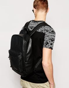 Image 3 of ASOS Faux Leather Backpack In Black