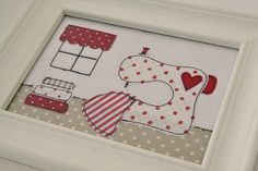 Just love this appliqué picture...great for sewing room.