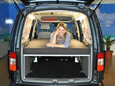 Check out the window caddy system (about midway through the video! Really clever!!!!  VanEssa mobilcamping  Schlafsystem - Dein VW Caddy Maxi als Wohnmobil
