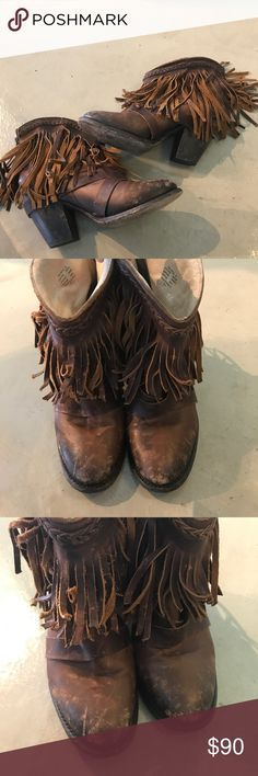 """Freebird by Steven Dallas Fringe Love these so much! Freebird by Steven """"Dallas Fringe"""". There is wear, but honestly I think they look better that way. A really good distressed look! Size 8, but fit 7.5-8 depending on the sock. Freebird by Steven Shoes Ankle Boots & Booties"""