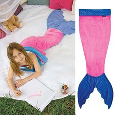 $21.96 Cute Color Block Mermaid Design Blanket For Kids