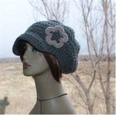 Check out this item in my Etsy shop https://www.etsy.com/listing/497168799/slouchy-newsboy-hat-grey-womens-flower