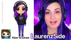 How to Draw LaurenzSide 💜Famous YouTube Gamer - YouTube Kawaii Girl Drawings, Cartoon Drawings, Long Purple Hair, Drawing Lessons, Drawing Ideas, Famous Youtubers, Fun Easy Crafts, Youtube Gamer, Simple Cartoon