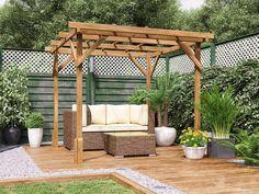 Small Garden Pergola, Modern Pergola, Outdoor Pergola, Backyard Patio, Backyard Landscaping, Timber Pergola, Outdoor Seating, Landscaping Ideas, Outdoor Spaces
