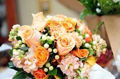Peach and Orange wedding flowers, bouquet Krista Nicole Photography