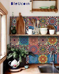 Mandala Tile / Wall / Floor Kitchen Bathroom Backsplash Decal, Removable Stair Riser Peel and Stick Vinyl Sticker: Pack of 44 - Decoration For Home Bathroom Decals, Tile Decals, Bathroom Flooring, Kitchen Flooring, Kitchen Backsplash, Wall Tiles, Backsplash Design, Kitchen Countertops, Kitchen Cabinet Colors