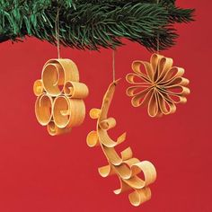 Wood shaving ornaments