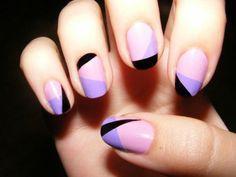 idee deco ongle, un joli modele ongle gel rose pale, violette, noir