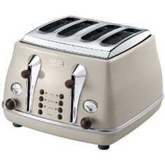Delonghi Vintage Icona Dolcevita CTOV4003.BG 4-Slice Toaster, Cream: Amazon.co.uk: Kitchen & Home