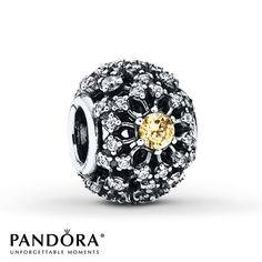 PANDORA Inner Radiance charm decorated with 63 sparkling stones set in a striking sunburst pattern around three golden-colored cubic zirconia. Charms Pandora, Pandora Beads, Pandora Bracelets, Pandora Jewelry, Charm Jewelry, Fine Jewelry, Silver Jewelry, Jewlery, Pandora Charms