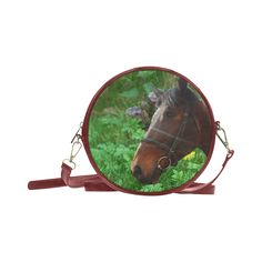 Horse and Grass Round Messenger Bag. FREE Shipping. #artsadd #bags #horses