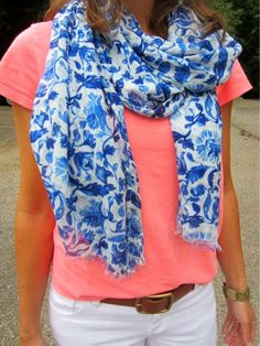 coral + floral scarf