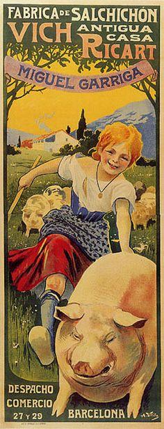 SAUSAGE PIG GIRL BARCELONA SPAIN VINTAGE POSTER REPRO LARGE #Vintage