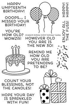 Create many fun and funny birthday cards with the Umpteenth Birthday stamp set by Technique Tuesday. Each set includes 13 acrylic stamps on a 4