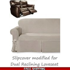 Dual Reclining Sofa Slipcover Suede Chocolate Sure Fit Recliner Couch In 2019 Stuff