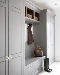 Hallway storage ideas open shelving ideas for 2019 Shoe Storage Mudroom, Mudroom Laundry Room, Hallway Storage, Hanging Storage, Cupboard Storage, Storage Spaces, Mudroom Cabinets, Grey Cabinets, Boot Room Utility