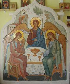 Ag.Triada Byzantine Icons, Byzantine Art, Religious Icons, Religious Art, Roman Church, Russian Icons, Orthodox Christianity, Art Icon, Orthodox Icons