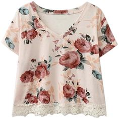 Choies Pink Floral V-neck Lace Hem Short Sleeve Cropped T-shirt (86 RON) ❤ liked on Polyvore featuring tops, t-shirts, shirts, crop tops, pink, v neck shirts, short sleeve shirts, crop top, floral crop top and pink shirt