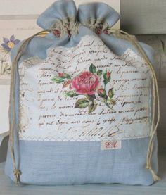 Crafty Projects, Crochet Projects, Sewing Projects, Fabric Crafts, Sewing Crafts, Shabby Chic Crafts, Art Bag, String Bag, Fabric Bags