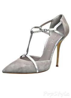Casadei Italian Silver Suede, Leather Pumps