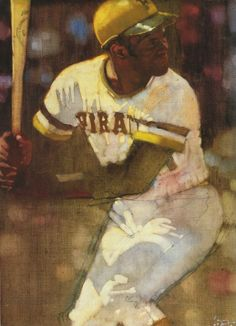 Bernie Fuchs painting of Roberto Clemente, Pittsburgh Pirates.