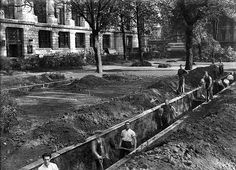 London - Bloomsbury Square. Digging air-raid shelters.