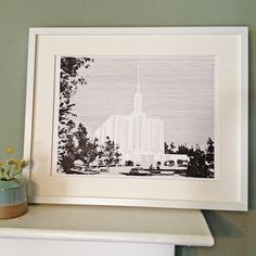 SEATTLE Washington LDS Temple Original Drawing by TOTCtemples
