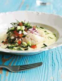 Torsk med porrecreme - se opskriften her Norwegian Food, Danish Food, Fish Dishes, Fish And Seafood, Food Inspiration, Good Food, Food And Drink, Lunch, Dinner
