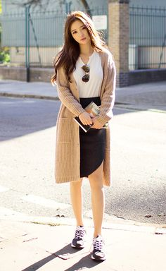 [Chuu] Ribbed Knee-Length Knit Cardigan