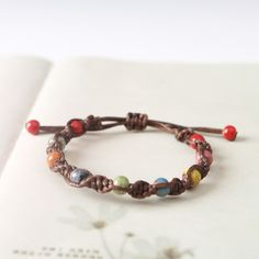 Hand-woven Vintage Jingdezhen Fashion Glaze Ceramic Crystal Bracelet Bangle for Women Fashion Jewelry