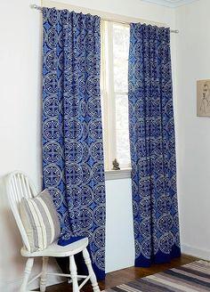 Indigo curtains Blue curtains window boho bedroom home by Ichcha