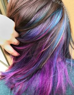 Rainbow unicorn hair, galaxy underlights, purple, blue & pink highlights, color balayage