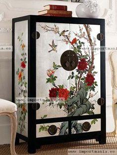 Armario chino blanco con flores pajaros - Muebles chinos | muebles orientales | muebles asiaticos | decoración oriental China