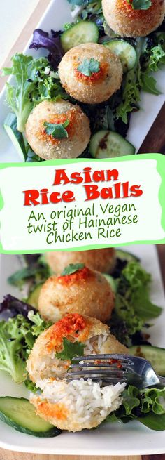 Asian Rice Balls: An original Vegan twist of Hainanese Chicken Rice. Fragrant and healthy, without sacrificing an ounce of gorgeous taste, Mmmmmm!