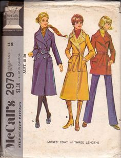 70s Women's Wrap Trench Coat Jacket Pattern McCall's 2979 Size 14 Bust 36 inches